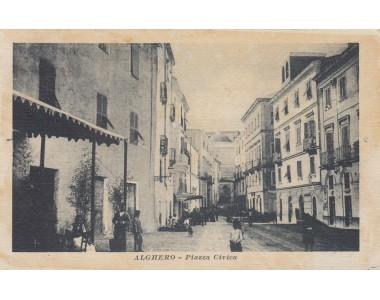 ALGHERO PIAZZA CIVICA, CARTOLINA VIAGGIATA 1920