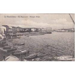 LA MADDALENA VIA NAZIONALE MANGIA VOLPE, CARTOLINA VIAGGIATA 1911