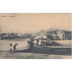 CAGLIARI, DARSENA , CARTOLINA VIAGGIATA 1921