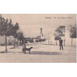SASSARI - VIA ALLA PIAZZA D'ARMI, CARTOLINA VIAGGIATA 1922