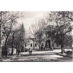 SCANO MONTIFERRO ( NUORO) PIAZZALE CHIESA E MONUMENTO AI CADUTI VIAGGIATA 1963