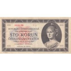 CECOSLOVACCHIA REPUBBLICA 100 CORONE 1945