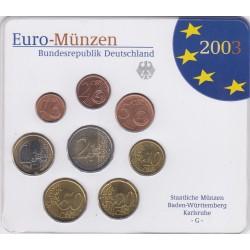 GERMANIA SERIE DIVISIONALE EURO 2003 IN CONFEZIONE ORIGINALE ZECCA STAATLICHE MUNZE BADEN-WURTTEMBERG KARLSRUHE -G-