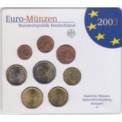 GERMANIA SERIE DIVISIONALE EURO 2003 IN CONFEZIONE ORIGINALE ZECCA STAATLICHE MUNZEN BADEN- WURTTEMBERG STUTTGART -F-
