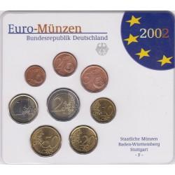 GERMANIA SERIE DIVISIONALE EURO 2002 IN CONFEZIONE ORIGINALE ZECCA STAATLICHE MUNZEN BADEN - WURTTEMBERG STUTTGART -F-