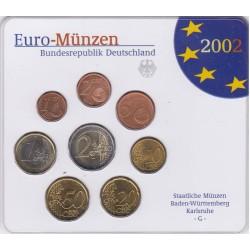 GERMANIA SERIE DIVISIONALE EURO 2002 IN CONFEZIONE ORIGINALE ZECCA STAATLICHE MUNZEN BADEN- WURTTEMBERG KARLSRUHE -G-