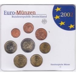 GERMANIA SERIE DIVISIONALE EURO 2002 IN CONFEZIONE ORIGINALE ZECCA HAMBURGISCHE MUNZE -J-