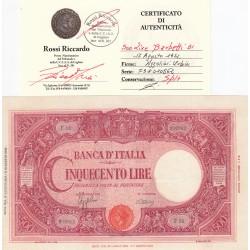 500 LIRE BARBETTI 17/08 1944 CONSERVAZIONE SPL+