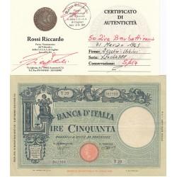 50 LIRE BARBETTI 31 MARZO 1943 CONSERVAZIONE SPL+
