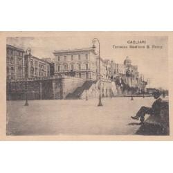 CAGLIARI TERRAZZA BASTIONE S. REMY , CARTOLINA VIAGGIATA 1921