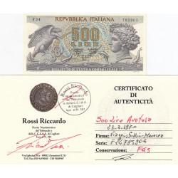 500 LIRE ARETUSA 23.02.1970 PERIZIATA FDS