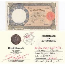 50 LIRE LUPA CAPITOLINA 17.05.1943 L'AQUILA , PERIZIATA Q.SPL