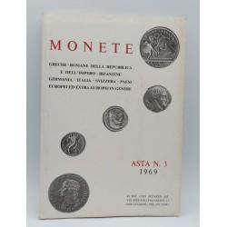 CATALOGO KUNST UND MUNZEN AG. MONETE GHRECHE -ROMANE DELLA REPPUBLICA E DELL IMPERO ASTA N'3- 1969