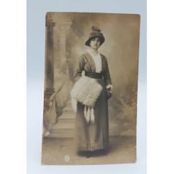 FOTO D'EPOCA RITRATTO DI DONNA STUDIO FOTOGRAFICO SALVATORE MELIS 1914 CAGLIARI