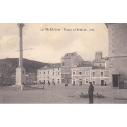 LA MADDALENA - PIAZZA 23 FEBBRAIO 1793, CARTOLINA VIAGGIATA 1910