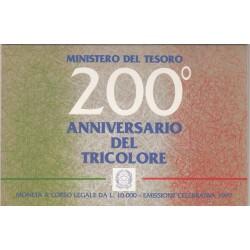 10000 LIRE 1997, 200 ANNIVERSARIO DEL TRICOLORE, ARGENTO