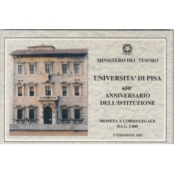 5000 LIRE 1993 UNIVERSITA DI PISA 650 ANNIVERSARIO DELL'ISTITUZIONE, 2 EMMISSIONE