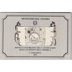 500 LIRE CELEBRATIVA DEL V CENTENARIO DELLA SCOPERTA DELL'AMERICA 2 EMISSIONE 1990