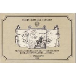 500 LIRE CELEBRATIVA DEL V CENTENARIO DELLA SCOPERTA DELL'AMERICA 3 EMISSIONE 1991