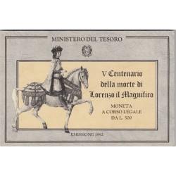 500 LIRE 1992 V CENTENARIO DELLA MORTE DI LORENZO IL MAGNIFICO