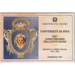 500 LIRE 1993 UNIVERSITA DI PISA, 650 ANNIVERSARIO DELL'ISTITUZIONE
