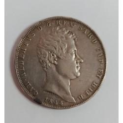REGNO DI SARDEGNA Carlo Alberto 5 LIRE 1844,  ZECCA DI GENOVA