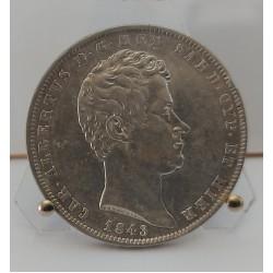 REGNO DI SARDEGNA CARLO ALBERTO  5 LIRE 1843 ZECCA DI GENOVA
