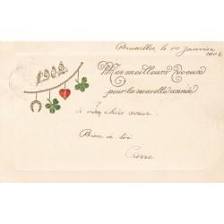 BONNE ANNEE 1902, CARTOLINA FRANCESE IN RILIEVO , VIAGGIATA