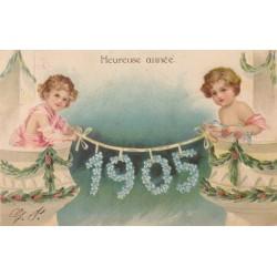 BONNE ANNEE 1905, CARTOLINA FRANCESE IN RILIEVO , VIAGGIATA