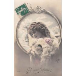 BONNE ANNEE CARTOLINA AUGURALE FRANCESE,EPOCA 1911