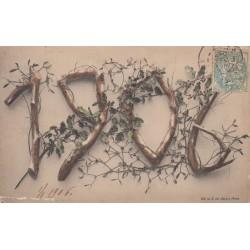 BONNE ANNEE 1906 CARTOLINA FRANCESE VIAGGIATA