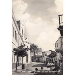 VILLASALTO SCUOLE E CHIESA PARROCHIALE viaggiata 1950