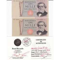 1000 LIRE VERDI II TIPO 11-3-1971 EMISSIONE NORMALE E SU CARTA OCRA  FDS. Stessa serie ma con tipi di carta differente