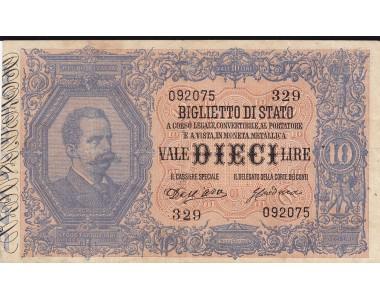 10 LIRE UMBERTO I 28.2.1888 DALL'ARA - CRODARA BB+