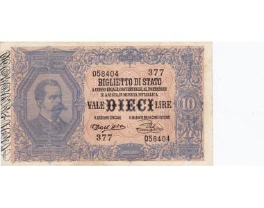 10 LIRE UMBERTO I  6.8.1889 DALL'ARA - PIA qSPL