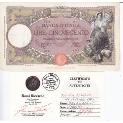 500 LIRE MIETITRICE 27-2-1940  BB/SPL