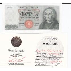 5000 LIRE COLOMBO I TIPO 4-1-1968 CARTA BIANCA
