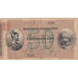Credito Agricolo Industriale Sardo  50 Lire  - 1 Marzo  1874