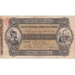Credito Agricolo Industriale Sardo  100 Lire  - 1 Marzo  1874