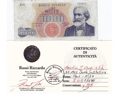 1000 Lire Verdi I° Tipo 05-07-1963  SERIE  SOSTITUTIVA X 05