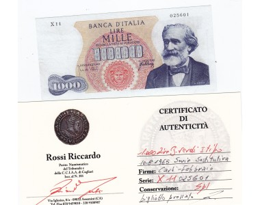 1000 Lire G.VERDI I TIPO 10-8.1965 SERIE SOSTITUTIVA X 11