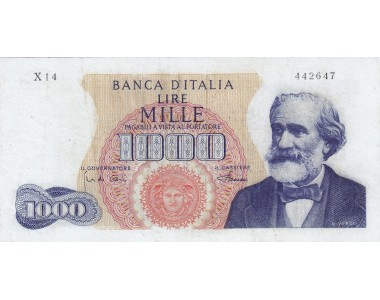 1000 LIRE G. VERDI I TIPO 4.1.1968 SERIE SOSTITUTIVA X14