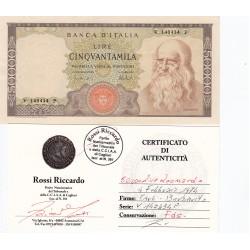 50.000 LIRE LEONARDO 2.2.1974 FDS-