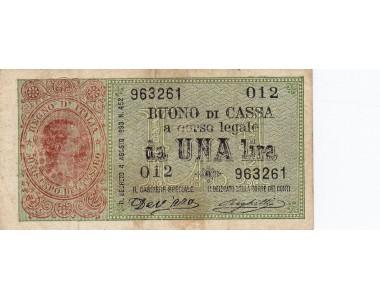 1 LIRA UMBERTO  I 15.9.1893 BB+