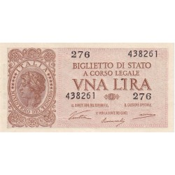 BANCONOTA  DA 1 LIRA  1944    FDS   VENTURA-SIMONESCHI-GIOVINCO