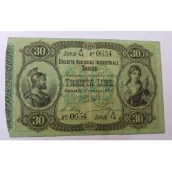 CREDITO AGRICOLO INDUSTRIALE SARDO 30 LIRE 1884  SPL
