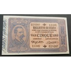 5 LIRE UMBERTO I 25-10-1892  FDS