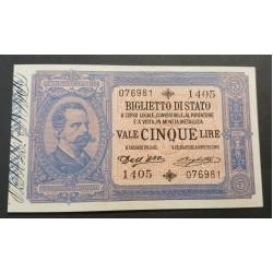 5 LIRE VITTORIO EMANUELE III CON EFFIGIE  UMBERTO I  29-3-1904  FDS