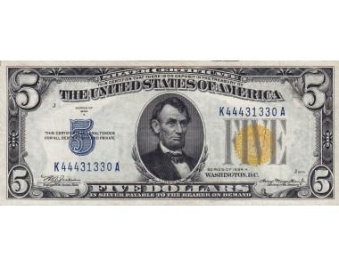 OCCUPAZIONE AMERICANA IN SICILIA 1943  5 DOLLARI SIGILLO GIALLO