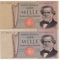 1000 LIRE G. VERDI II TIPO 25-3-1969 EMISSIONE NORMALE E SU CARTA OCRA Stessa serie ma con tipi di carta differente